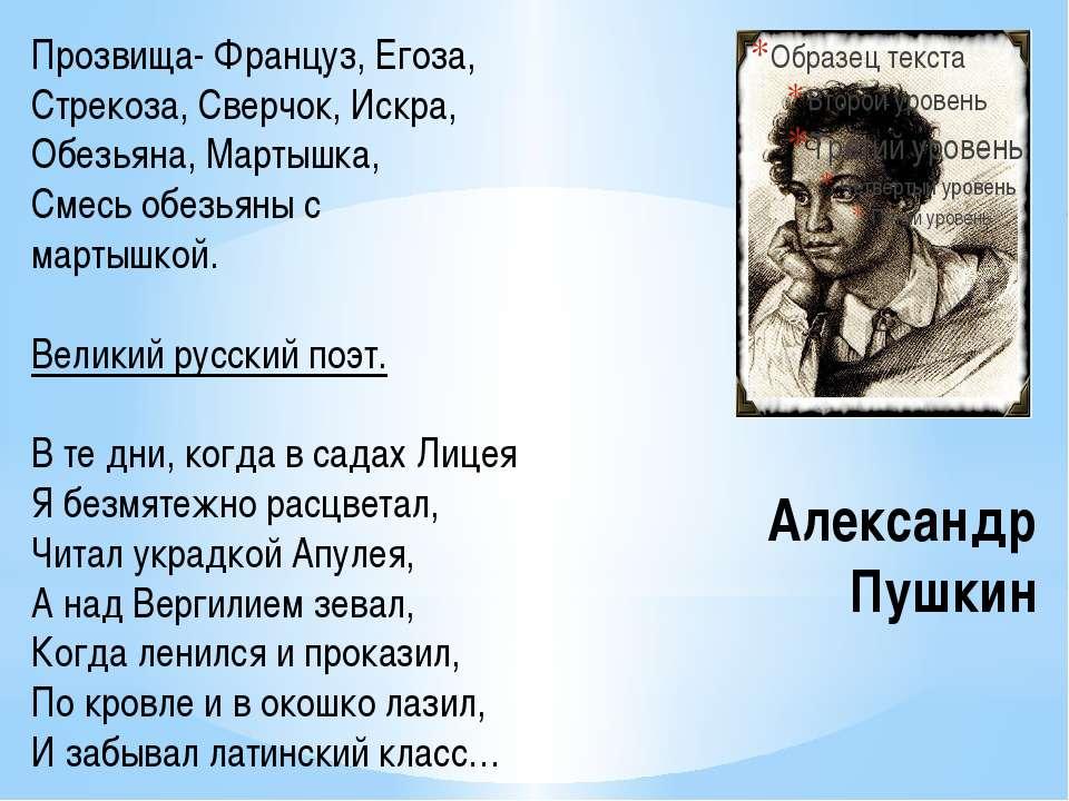 Александр Пушкин Прозвища- Француз, Егоза, Стрекоза, Сверчок, Искра, Обезьяна...
