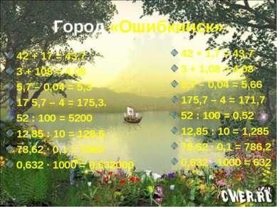 Город «Ошибкинск» 42 + 17 = 43,7 3 + 108 = 4,08 5,7 – 0,04 = 5,3 17 5,7 – 4 =...