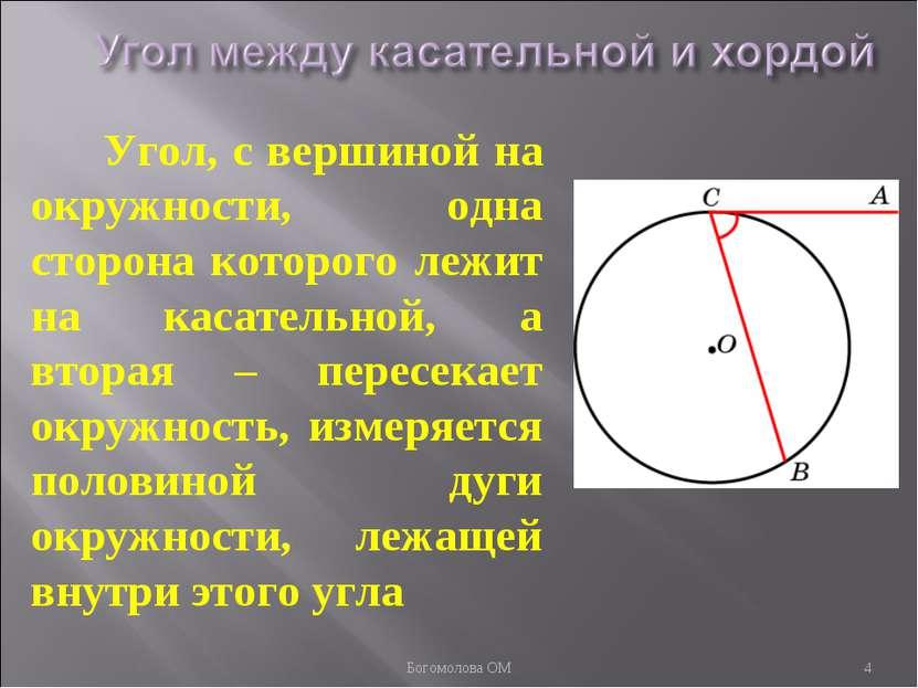 Угол, с вершиной на окружности, одна сторона которого лежит на касательной, а...