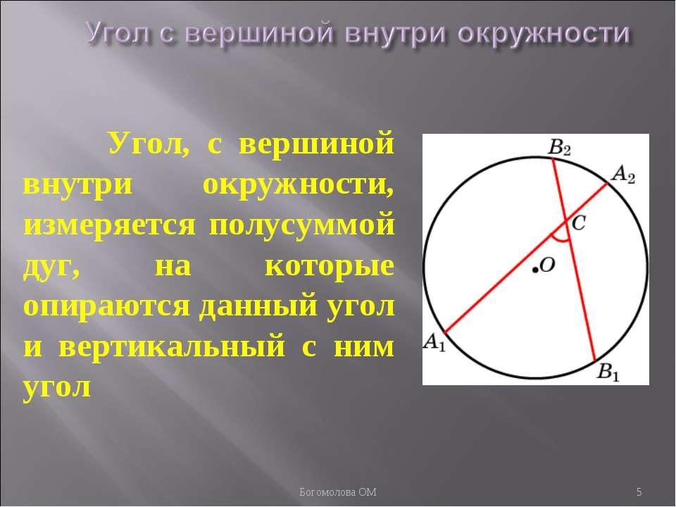 Угол, с вершиной внутри окружности, измеряется полусуммой дуг, на которые опи...