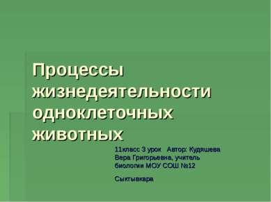 Процессы жизнедеятельности одноклеточных животных 11класс 3 урок Автор: Кудяш...