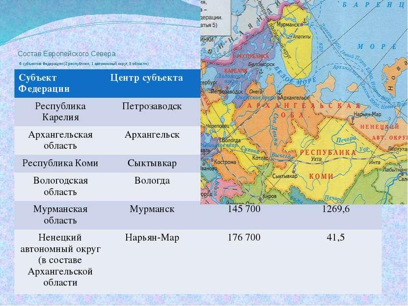Состав Европейского Севера 6 субъектов Федерации (2 республики, 1 автономный ...