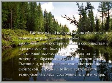 Растительный покров района образован, в первую очередь, лесами, а также забол...