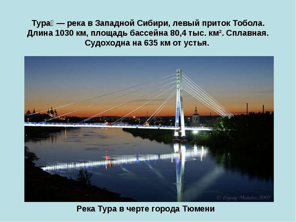 Тура — река в Западной Сибири, левый приток Тобола. Длина 1030 км, площадь ба...