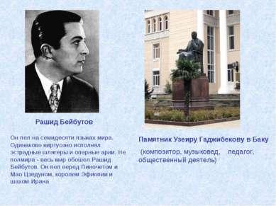 Памятник Узеиру Гаджибекову в Баку (композитор, музыковед, педагог, обществен...