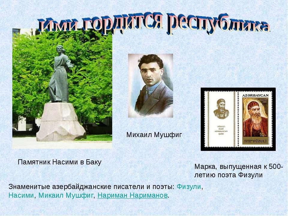 Памятник Насими в Баку Знаменитые азербайджанские писатели и поэты:Физули,Н...