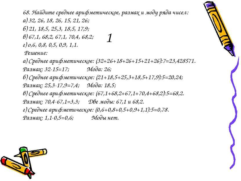1 68. Найдите среднее арифметическое, размах и моду ряда чисел: а) 32, 26, 18...