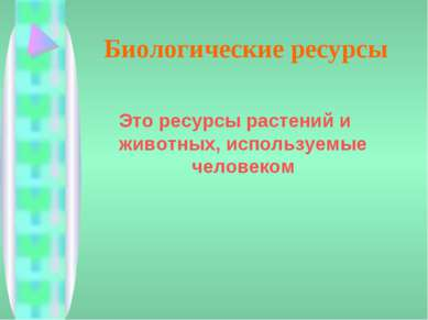 Биологические ресурсы Это ресурсы растений и животных, используемые человеком