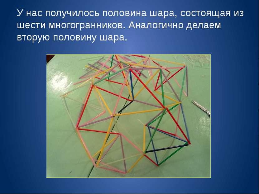 У нас получилось половина шара, состоящая из шести многогранников. Аналогично...