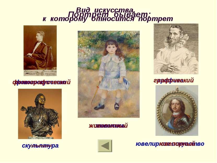 Вид искусства, к которому относится портрет графика ювелирное искусство скуль...