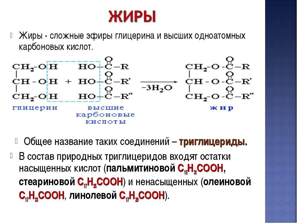 Жиры - сложные эфиры глицерина и высших одноатомных карбоновых кислот. Общее ...