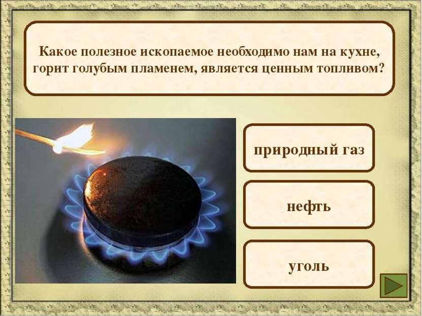 Какое полезное ископаемое необходимо нам на кухне, горит голубым пламенем, яв...