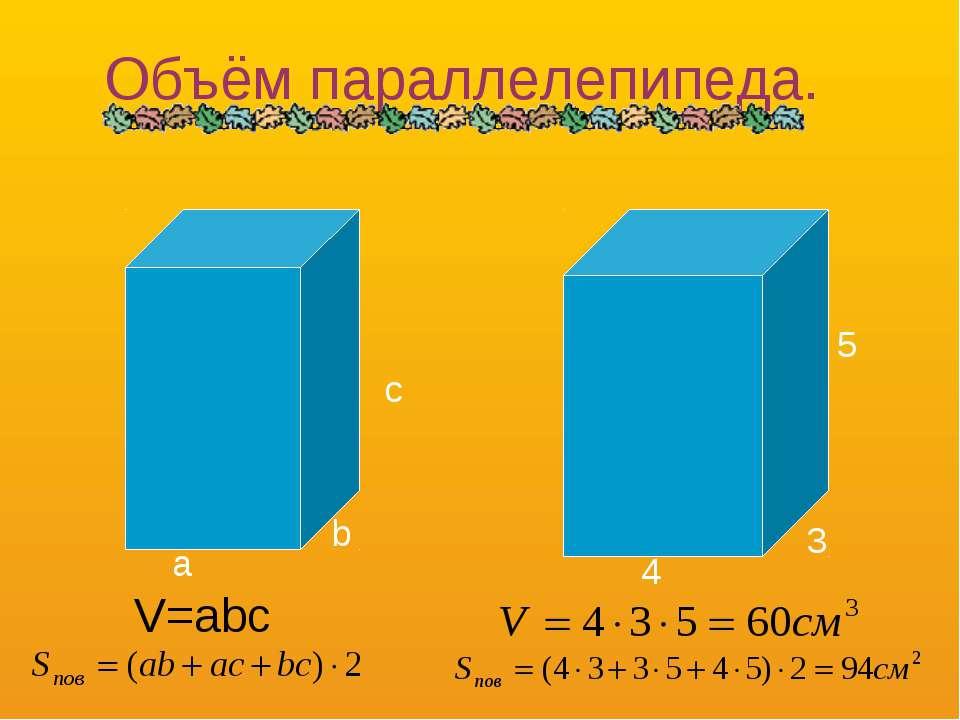 a b c V=abc 4 3 5 Объём параллелепипеда.