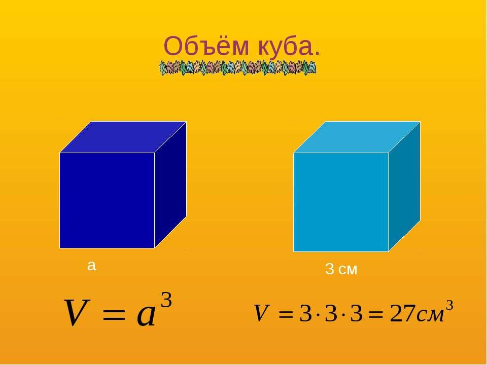 Объём куба. a 3 см