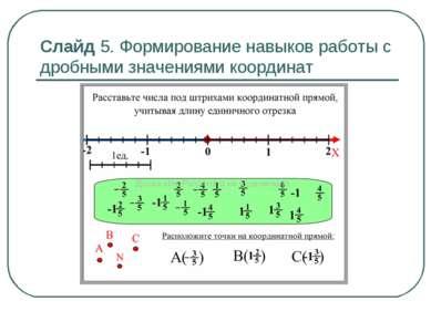 Слайд 5. Формирование навыков работы с дробными значениями координат