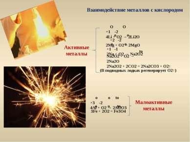 Взаимодействие металлов с кислородом Активные металлы O O +1 -2 4Li + O2 → 2L...