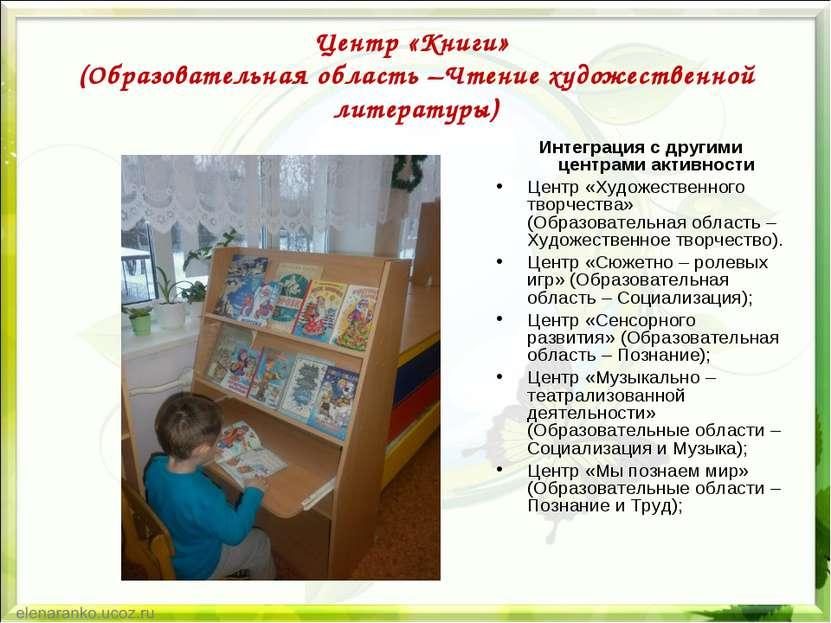 Центр «Книги» (Образовательная область –Чтение художественной литературы) Инт...