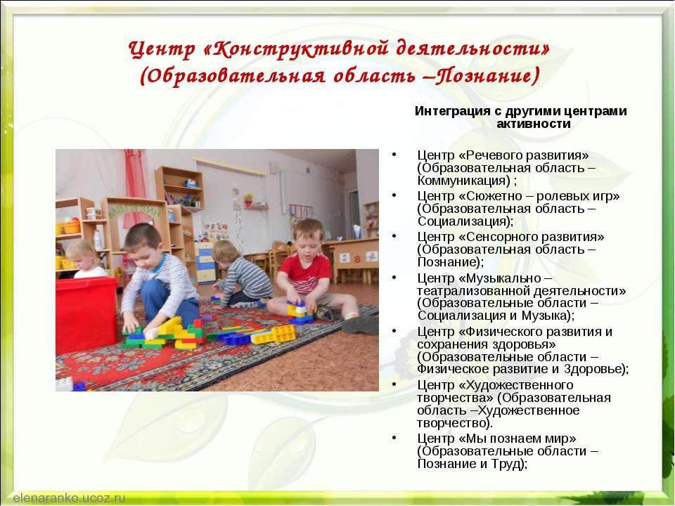 Центр «Конструктивной деятельности» (Образовательная область –Познание) Интег...