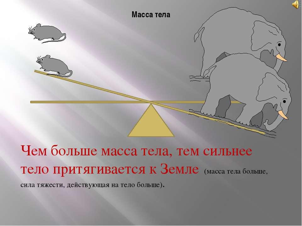 Масса тела Чем больше масса тела, тем сильнее тело притягивается к Земле (мас...