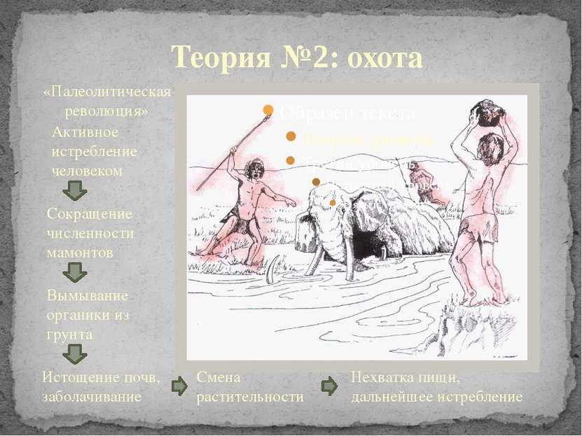 Теория №2: охота Активное истребление человеком Сокращение численности мамонт...