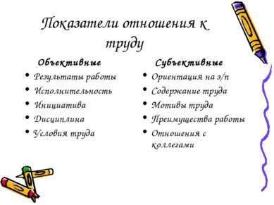 Показатели отношения к труду Объективные Результаты работы Исполнительность И...