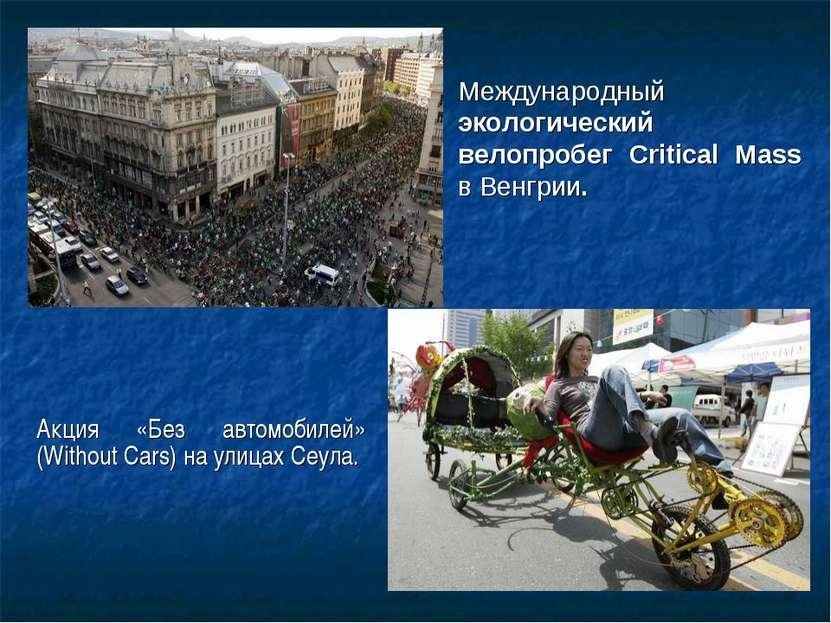 Международный экологический велопробег Critical Mass в Венгрии. Акция «Без ав...