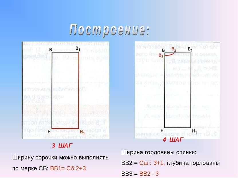 3 ШАГ 4 ШАГ Ширину сорочки можно выполнять по мерке СБ: ВВ1= Сб:2+3 Ширина го...