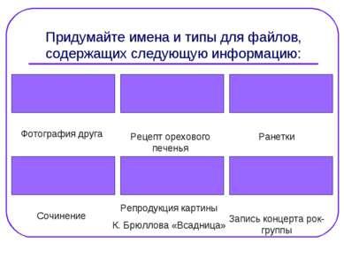 Придумайте имена и типы для файлов, содержащих следующую информацию: Фотограф...