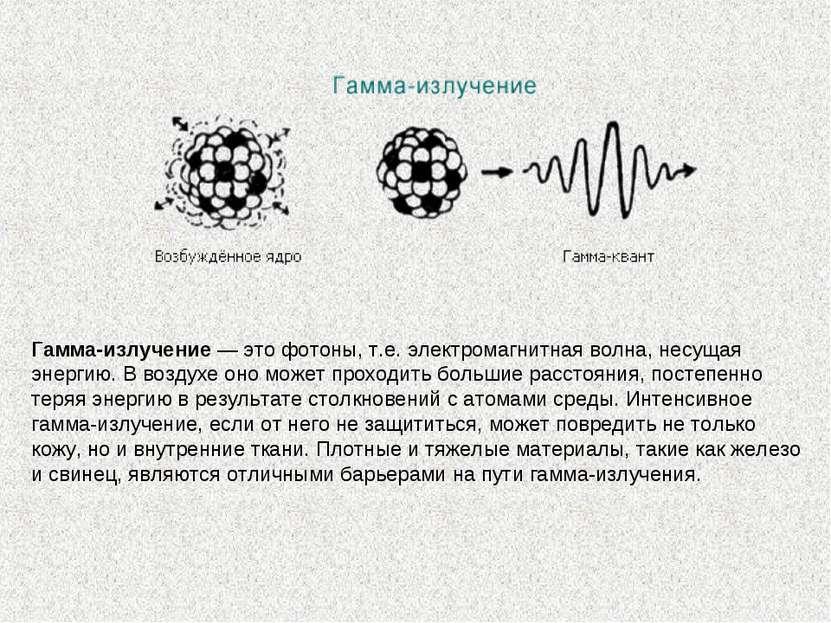 Гамма-излучение— это фотоны, т.е. электромагнитная волна, несущая энергию. В...