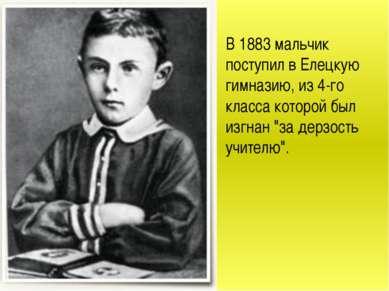 В 1883 мальчик поступил в Елецкую гимназию, из 4-го класса которой был изгнан...