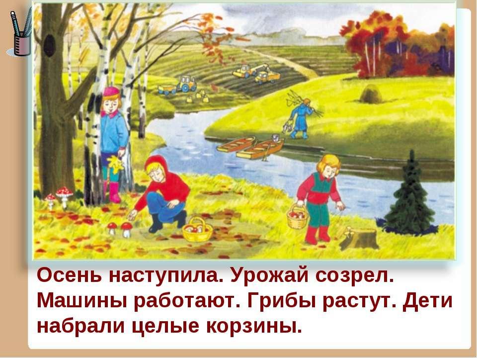 Осень наступила. Урожай созрел. Машины работают. Грибы растут. Дети набрали ц...