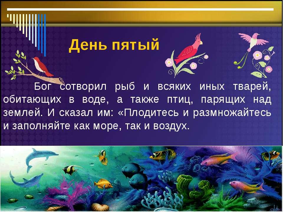 День пятый Бог сотворил рыб и всяких иных тварей, обитающих в воде, а также п...