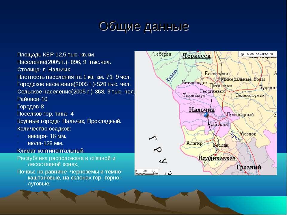 Общие данные Площадь КБР-12,5 тыс. кв.км. Население(2005 г.)- 896, 9 тыс.чел....