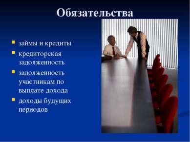 Глава 3. Экономика фирмы 19. Баланс фирмы и управление ею Обязательства займы...