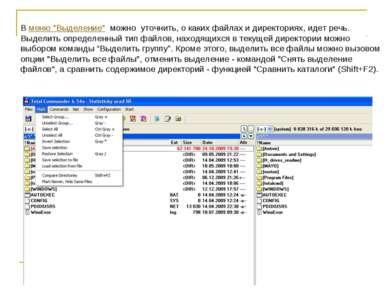 """В меню """"Выделение"""" можно уточнить, о каких файлах и директориях, идет речь. В..."""