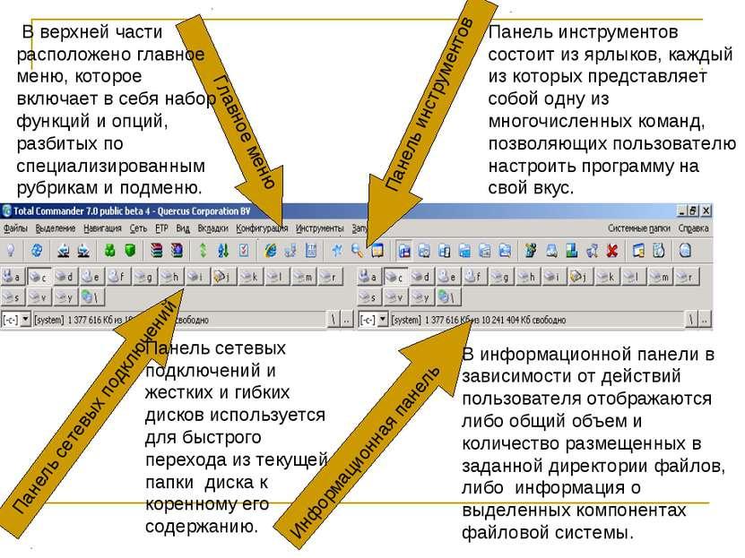 Главное меню Панель инструментов Панель сетевых подключений Информационная па...