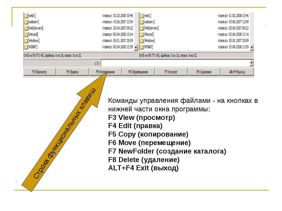 Команды управления файлами - на кнопках в нижней части окна программы: F3 Vie...