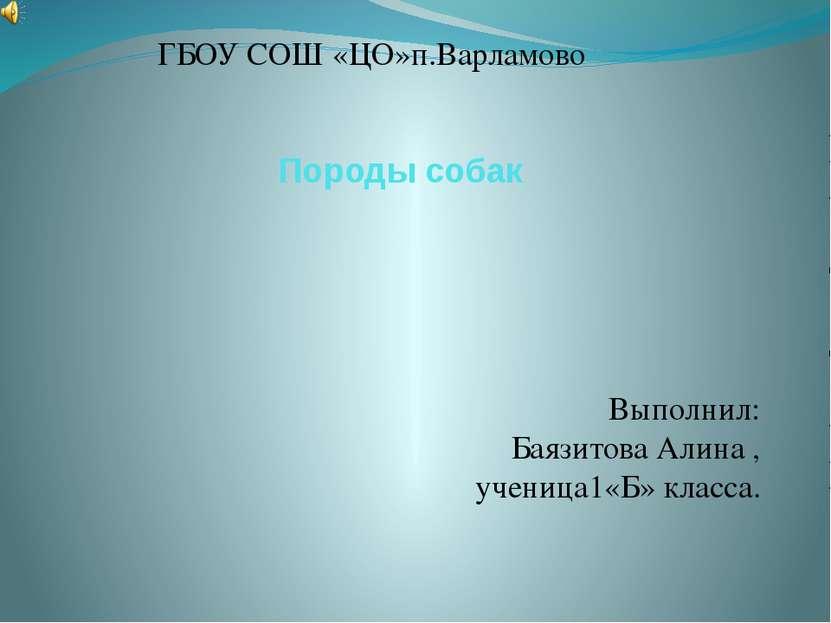 Породы собак ГБОУ СОШ «ЦО»п.Варламово Выполнил: Баязитова Алина , ученица1«Б»...