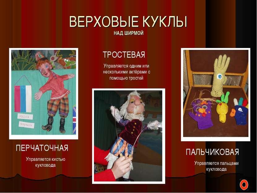ВЕРХОВЫЕ КУКЛЫ НАД ШИРМОЙ ПЕРЧАТОЧНАЯ Управляется кистью кукловода ТРОСТЕВАЯ ...
