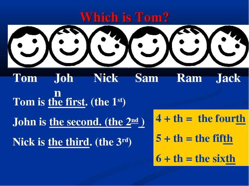Which is Tom? Tom is the first. (the 1st) John is the second. (the 2nd ) Nick...