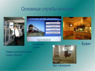 Основные службы вокзала Справочная служба Зал ожидания Камера хранения ручной...