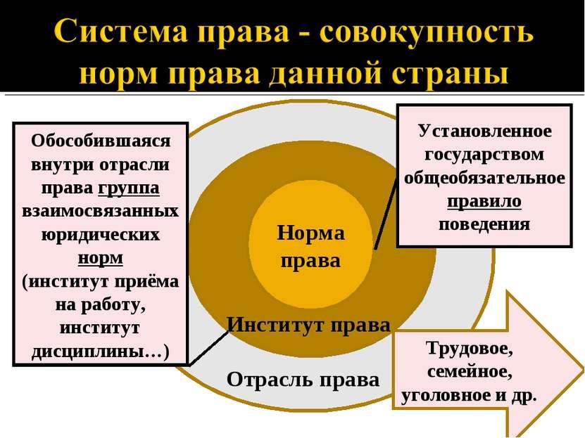 Норма права Отрасль права Институт права Трудовое, семейное, уголовное и др. ...