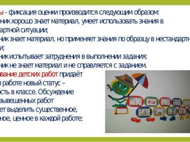 Символы - фиксация оценки производится следующим образом: + ученик хорошо зна...
