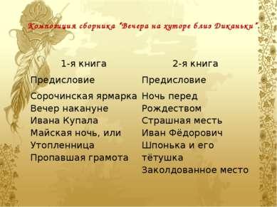 "Композиция сборника ""Вечера на хуторе близ Диканьки"". 1-я книга 2-я книга Пре..."