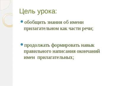Цель урока: обобщить знания об имени прилагательном как части речи; продолжат...