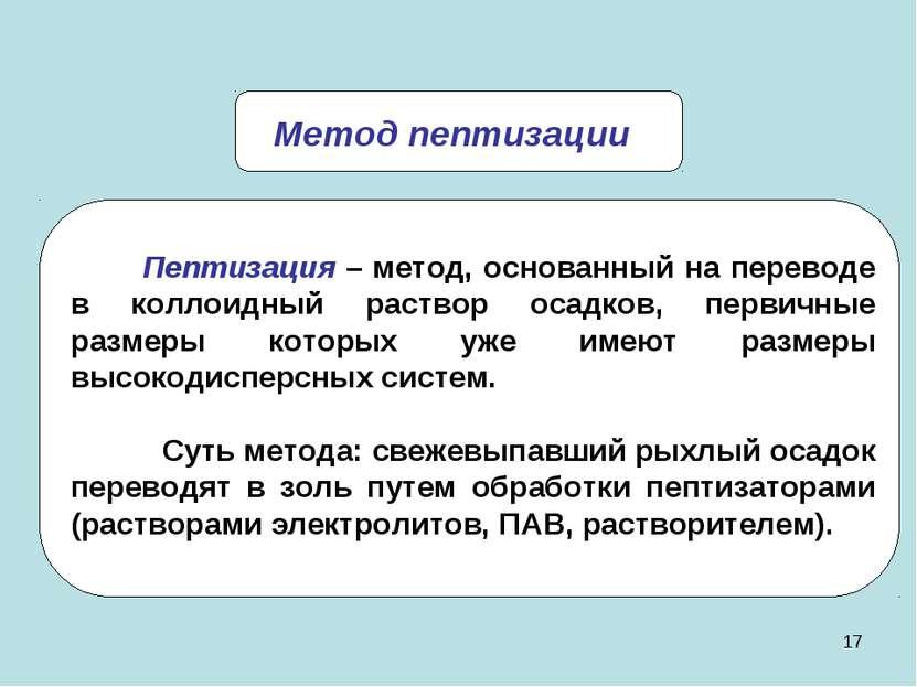 * Метод пептизации