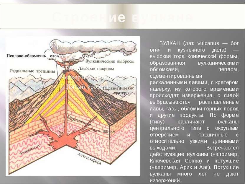 Строение вулкана ВУЛКАН (лат. vulcanus — бог огня и кузнечного дела) — высока...