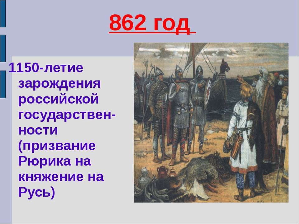 862 год 1150-летие зарождения российской государствен-ности (призвание Рюрика...