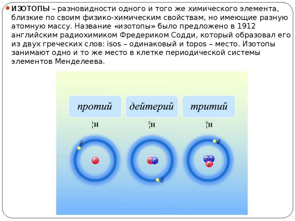 ИЗОТОПЫ – разновидности одного и того же химического элемента, близкие по сво...