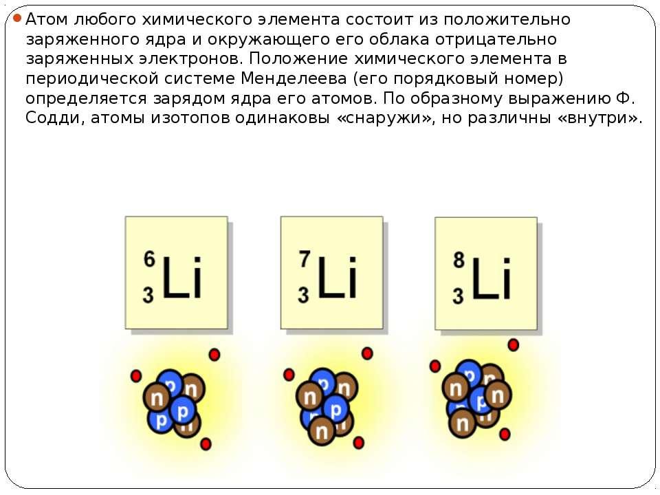 Атом любого химического элемента состоит из положительно заряженного ядра и о...